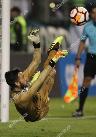 Cali's Camilo Vargas saves a penalty during a Copa Sudamericana game between Deportivo Cali and Liga de Quito at the Palmaseca Monumental Stadium of Cali, Valle del Cauca, Colombia, 19 September 2018.