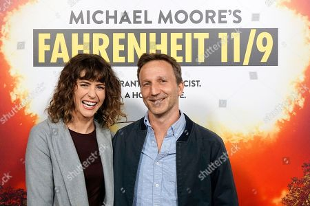 Stock Image of Deborah Kaplan (L), and Breckin Meyer arriving at the premiere of Briarcliff Entertainment's Fahrenheit 11/9 at Samuel Goldwyn Theater in Beverly Hills, California, USA 19 September 2018. The movie opens in the US 21 September 2018.