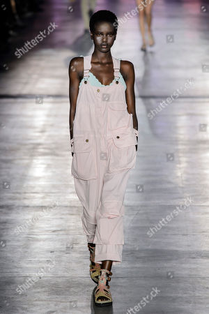 Stock Image of Adut Akech Bior on the catwalk