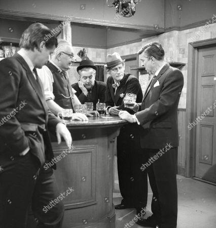 William Roache (as Ken Barlow, Arthur Leslie (as Jack Walker), Bernard Youens (as Stan Ogden), Gordon Rollings (as Charlie Moffitt) and Ivan Beavis (as Harry Hewitt)