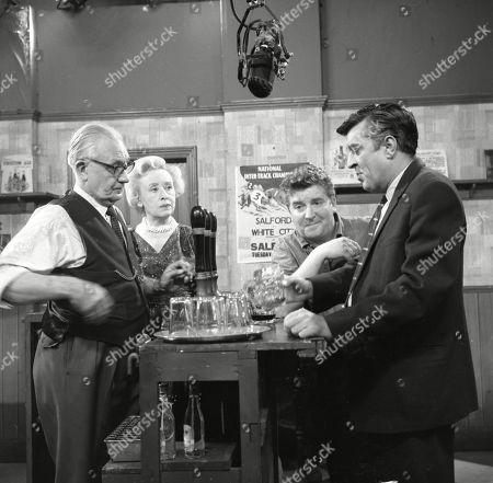 Arthur Leslie (as Jack Walker), Doris Speed (as Annie Walker), Peter Adamson (as Len Fairclough) and Ivan Beavis (as Harry Hewitt)
