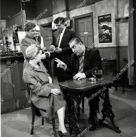 Jean Alexander (as Hilda Ogden), Peter Adamson (as Len Fairclough), Arthur Leslie (as Jack Walker), Ivan Beavis (as Harry Hewitt) and Bernard Youens (as Stan Ogden)