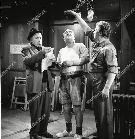 Stan Ogden trains for his wrestling match. Patrick McAlinney (as Tickler Murphy), Bernard Youens (as Stan Ogden) and Peter Adamson (as Len Fairclough)