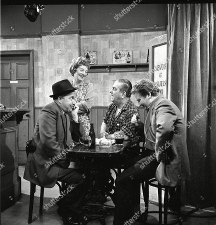 Patrick McAlinney (as Tickler Murphy), Jean Alexander (as Hilda Ogden), Bernard Youens (as Stan Ogden) and Peter Adamson (as Len Fairclough)