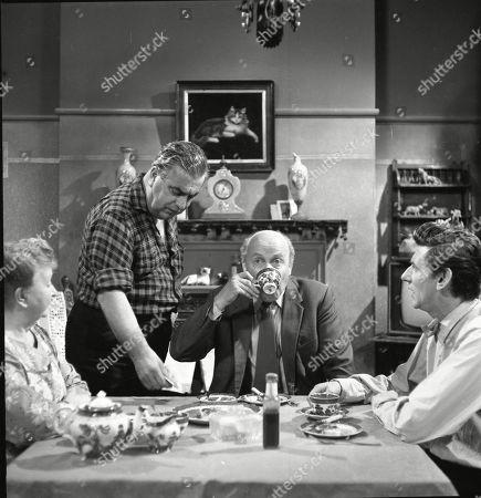 Stock Photo of Margot Bryant (as Minnie Caldwell), Bernard Youens (as Stan Ogden), Patrick McAlinney (as Tickler Murphy) and Gordon Rollings (as Charlie Moffitt)