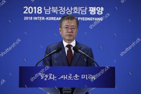 President Moon Jae-in speaks after the Inter-Korean summit, Seoul