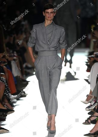 Stock Image of Dutch model Saskia de Brauw presents a creation by Max Mara during the Milan Fashion Week in Milan, Italy, 20 September 2018. The Spring Summer 2019 Women's collections are presented at the Milano Moda Donna from 19 to 23 September.
