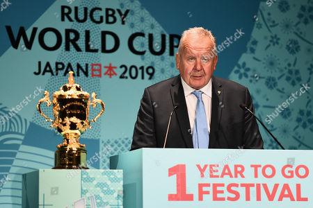 Chairman of the World Rugby Bill Beaumont speaks on stage during the Rugby World Cup One Year To Go event