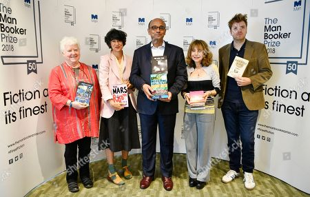 Stock Picture of Judges Kwame Anthony Appiah (C), Val McDermid (L), Leo Robson (R), Jacqueline Rose (2-L) and Leanne Shapton (2-R) hold nominated books at a photo-call for the shortlist for the Man Booker Prize 2018 in London, Britain, 20 September 2018. The shortlist comprises Milkman by Anna Burns, Washington Black by Esi Edugyan, Everything Under by Daisy Johnson, The Mars Room by Rachel Kushner, The Overstory by Richard Powers and The Long Take by Robin Robertson.