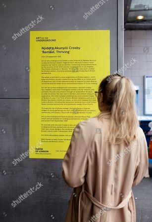 Editorial image of Njideka Akunyili Crosby, Art on the Underground photocall, Brixton station, London, UK - 20 Sep 2018