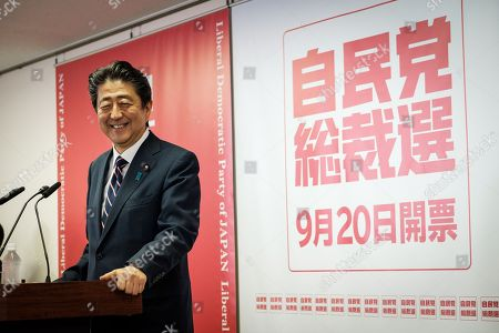 Shinzo Abe re-elected as president of Liberal Democratic Party, Tokyo