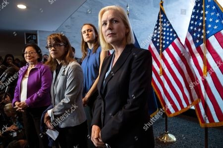 Mazie Hirono, Kirsten Gillibrand, Alexis Goldstein, Sarah Burgess. From left, Sen. Mazie Hirono, D-Hawaii, Alexis Goldstein and Sarah Burgess, alumnae of the Holton-Arms School, and Sen. Kirsten Gillibrand, D-N.Y., speak at a news conference in support of Christine Blasey Ford, who is accusing Supreme Court nominee Brett Kavanaugh of a decades-old sexual attack, during a news conference on Capitol Hill in Washington, . Holton Arms is the Maryland all-girls school that Christine Blasey Ford attended in the early 1980s