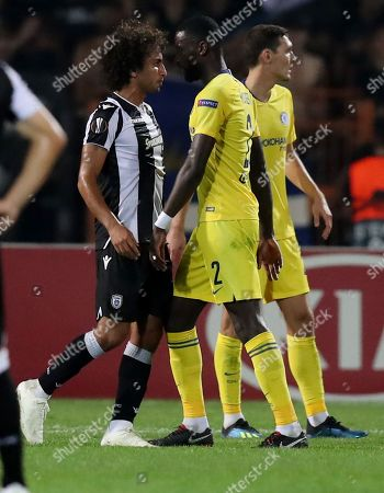 Antonio Rudiger of Chelsea clashes with Amr Warda of PAOK