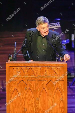 Bill Anderson accepts the Kris Kristofferson Lifetime Achievement Award at the 2018 Nashville Songwriters Awards at Ryman Auditorium, in Nashville, Tenn