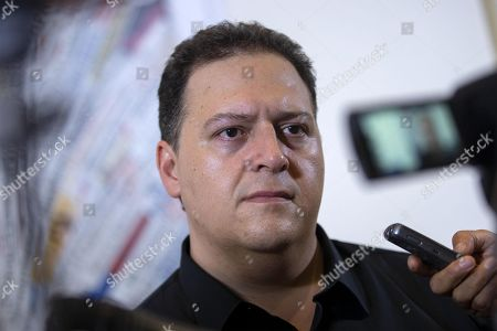 Colombian author and architect Sebastian Marroquin, born as Juan Pablo Escobar, son of late drug lord Pablo Escobar, attends a press conference at the foreign press association headquarters in Rome, Italy, 20 September 2018.