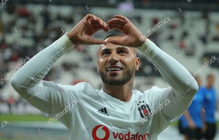 Besiktas' midfielder Ricardo Quaresma gestures to his family before the Europa League Group I soccer match between Besiktas and Sarpsborg in Istanbul