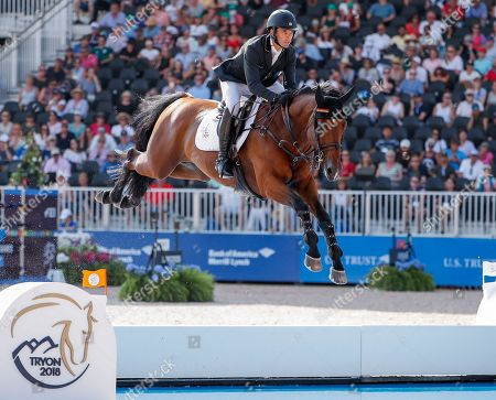 Eduardo Alvarez Aznar of Spain competes aboard Rokfeller de Pleville Bois Margot during the second qualifier for Jumping at the FEI World Equestrian Games 2018 at the Tryon International Equestrian Center in Mill Spring, North Carolina, USA, 20 September 2018. The World Equestrian Games continue through 23 September 2018.