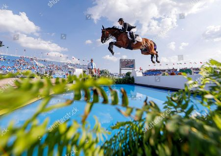 Stock Image of Eduardo Alvarez Aznar of Spain competes aboard Rokfeller de Pleville Bois Margot during the second qualifier for Jumping at the FEI World Equestrian Games 2018 at the Tryon International Equestrian Center in Mill Spring, North Carolina, USA, 20 September 2018. The World Equestrian Games continue through 23 September 2018.