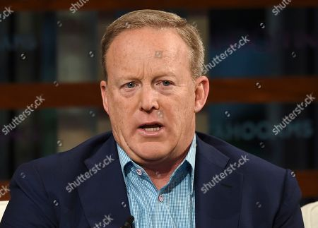 Stock Picture of Former White House Press Secretary Sean Spicer participates in the Yahoo Finance All Markets Summit: A World of Change at The TimesCenter, in New York