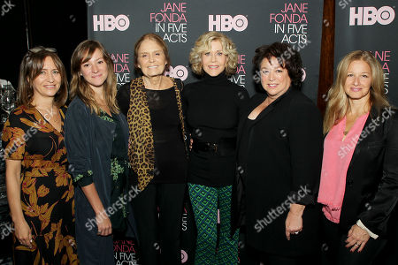 Stock Photo of Lisa Heller (EVP OF HBO Documentary Films), Emma Pildes (Proucer), Gloria Steinem, Jane Fonda, Susan Lacy (Director, Producer), Jessica Levin (Proucer)