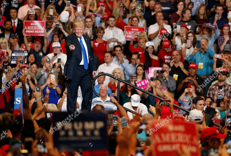 President Donald Trump speaks during a campaign rally, in Las Vegas