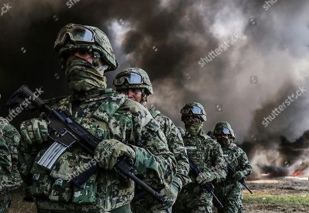Members of Mexico's Marines participate in the destruction of drugs in Acapulco, Guerrero, Mexico, 20 September 2018. The Mexican Marines on 20 September burnt 4.7 ton of cocaine, 468 kg of marijuana and 54 psychoactive pills seized at the states of Guerrero and Morelos.