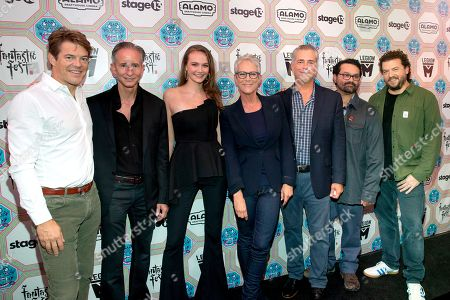 Stock Picture of Jason Blum, Bill Block, Andi Matichak, Jamie Lee Curtis, Malek Akkad, Jeff Fradley and Danny McBride