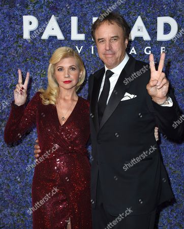 Susan Yeagley, Kevin Susan Yeagley, left, and Kevin Nealon arrive at Caruso's Palisades Village opening gala, in the Pacific Palisades neighborhood of Los Angeles