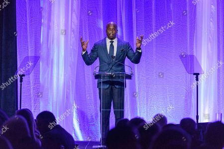 Master of Ceremonies Akbar Gbajabiamila tells about the first time he met the champ as he hosts the Sixth Annual Muhammad Ali Humanitarian Awards, at the Omni Louisville Hotel in Louisville, Ky
