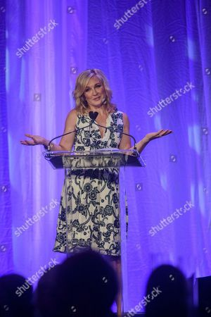 Stock Image of Actress and Activist Amy Carlson accepts the Gender Equality Award at the sixth annual Muhammad Ali Humanitarian Awards, at the Sixth Annual Muhammad Ali Humanitarian Awards Thursday, Sept. 20, 2018, at the Omni Louisville Hotel in Louisville, Ky