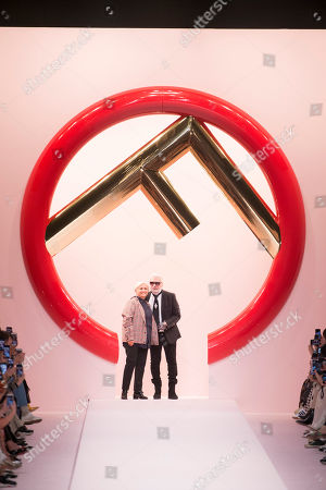 Stock Photo of Silvia Venturini Fendi and Karl Lagerfeld the catwalk