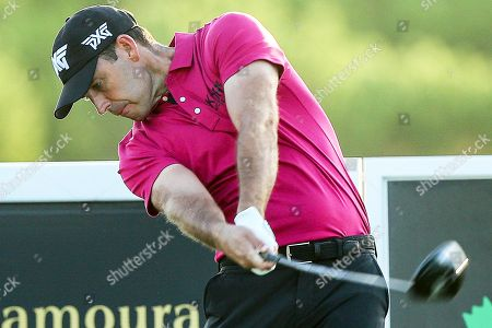 South Africa's Charl Schwartzel plays a shot during the second day of the Portugal Masters golf tournament in Vilamoura, southern Portugal, 20 September 2018.