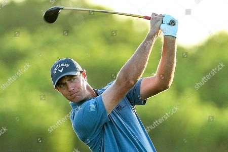 Belgium's Nicolas Colsaerts watches his shot during the second day of the Portugal Masters golf tournament in Vilamoura, southern Portugal, 21 September 2018.
