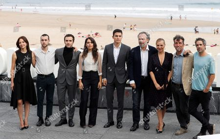 Spanish actors/cast members Jose Coronado (4-R), Alex Gonzalez (C), Leonor Watling (L), Alex Monner (2-L), Pilar Castro (3-R), Claudia Traisac (4-L), Luis Zahera (2-R), Ricardo Gomez (3-L) and Unax Ugalde (R) pose for the photographers at the San Sebastian International Film Festival, in San Sebastian, Basque Country, Spain, 21 September 2018. The 66th edition of the SSIFF runs from 21 to 29 September.