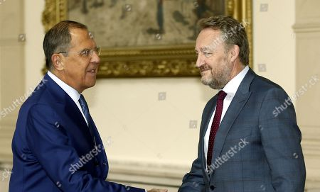 Russian Minister of Foreign Affairs Sergei Lavrov (L) shake hands with Chairman of Bosnian Presidency Bakir Izetbegovic (R)  in Sarajevo, Bosnia and Herzegovina, 21 September 2018. Lavrov arrived for a two-day working visit to Bosnia to strenghten cooperation between two countries. Lavrov's visit is just two weeks ahead of general elections in Bosnia which are scheduled for 07 October.