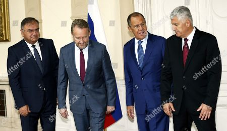 (L-R) Member of Bosnian Presidency Mladen Ivanic, Chairman of Bosnian Presidency Bakir Izetbegovic, Russian Minister of Foreign Affairs Sergei Lavrov and Dragan Covic member of Bosnian Presidency during their meeting in Sarajevo, Bosnia and Herzegovina, 21 September 2018. Lavrov arrived for a two-day working visit to Bosnia to strenghten cooperation between two countries. Lavrov's visit is just two weeks ahead of general elections in Bosnia which are scheduled for 07 October.