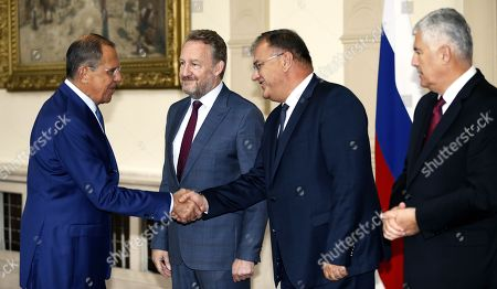 Russian Minister of Foreign Affairs Sergei Lavrov (L) shake hands with Chairman of Bosnian Presidency Bakir Izetbegovic (C), Member of Bosnian Presidency Mladen Ivanic and Dragan Covic (R) member of Bosnian Presidency during their meeting in Sarajevo, Bosnia and Herzegovina, 21 September 2018. Lavrov arrived for a two-day working visit to Bosnia to strenghten cooperation between two countries. Lavrov's visit is just two weeks ahead of general elections in Bosnia which are scheduled for 07 October.