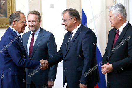 Sergei Lavrov. Russian Foreign Minister Sergey Lavrov, left, shakes hands with members of the Bosnia's three-member presidency Bakir Izetbegovic, second from left, Mladen Ivanic, center, and Dragan Covic, right, during their meeting in Sarajevo, Bosnia, . Russia's foreign minister is visiting Bosnia, an ethnically-divided Balkan country where Moscow has maintained strong influence among the country's Serbs