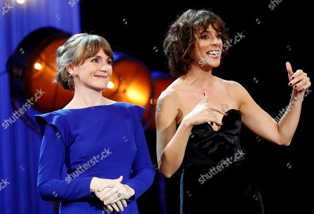 Spanish actress Belen Cuesta (R) and Nagore Aranburu attend the opening gala at the 66th edition of the San Sebastian International Film Festival (SSIFF), in San Sebastian, Basque Country, northern Spain, 21 September 2018. The SSIFF will be held from 21 to 29 September 2018.