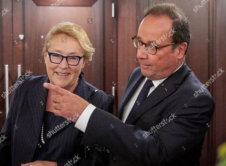 Stock Picture of Former French President Francois Hollande (R) walks with the Former Quebec Premier Pauline Marois (L) during the Women Foreign Ministers' Meeting in Montreal, Canada, 21 September 2018. The meeting of foreign ministers runs on 21 and 22 September.
