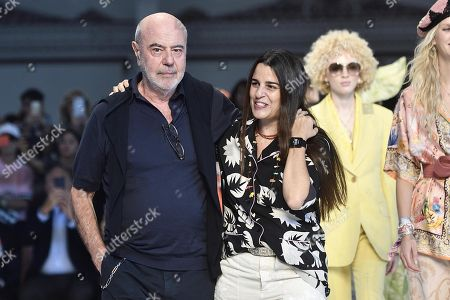 Stock Photo of Italian designers and siblings Kean Etro (L) and Veronica Etro (R) appear on the catwalk with models at the end of their presentation during the Milan Fashion Week, in Milan, Italy, 21 September 2018. The Spring/Summer 2019 Women's collections are presented at the Milano Moda Donna from 19 to 23 September.