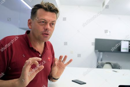 British playwright Simon Stephens talks during an interview with Spanish News Agency Agencia EFE, in Madrid, Spain, 21 September 2018.