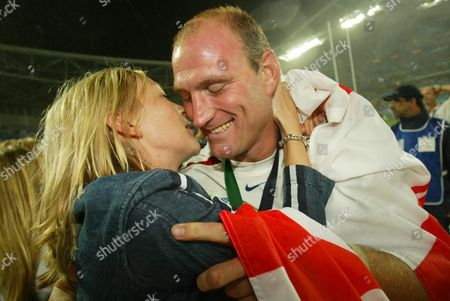 Stock Photo of Lawrence Dallaglio And Girlfriend Alice Corbett (now Alice Dallaglio Married 07/2006)rugby World Cup Final 2003 Sydney. England 20 Australia 17