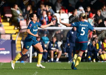 Claire Rafferty of West Ham Ladies celebrating her goal