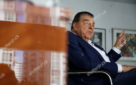"Mario Kreutzberger, also known as Don Francisco, speaks during an interview, in the Brickell neighborhood of Miami. Kreutzberger is a well-known television personality with a TV show called ""Don Francisco Te Invita"