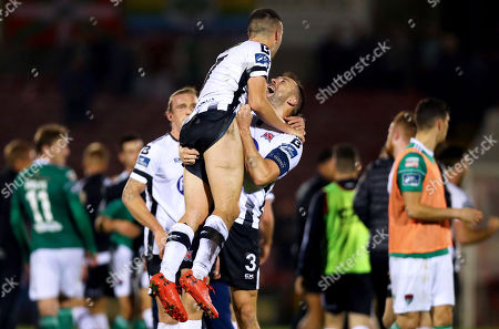 Cork City vs Dundalk. Dundalk's Brian Gartland celebrates after the game with Michael Duffy