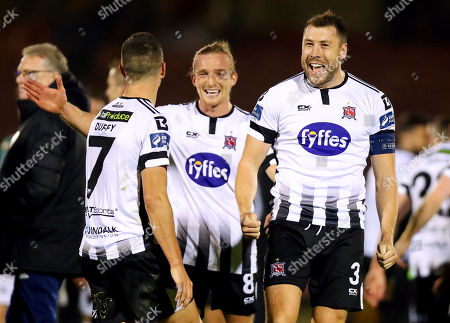 Cork City vs Dundalk. Dundalk's Brian Gartland celebrates after the game with Michael Duffy and John Mountney