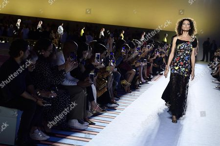 Canadian model Shalom Harlow presents a creation by Versace during the Milan Fashion Week, in Milan, Italy, 21 September 2018. The Spring/Summer 2019 Women's collections are presented at the Milano Moda Donna from 19 to 23 September.