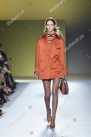 Danish model Freja Beha Erichsen presents a creation by Versace during the Milan Fashion Week, in Milan, Italy, 21 September 2018. The Spring/Summer 2019 Women's collections are presented at the Milano Moda Donna from 19 to 23 September.