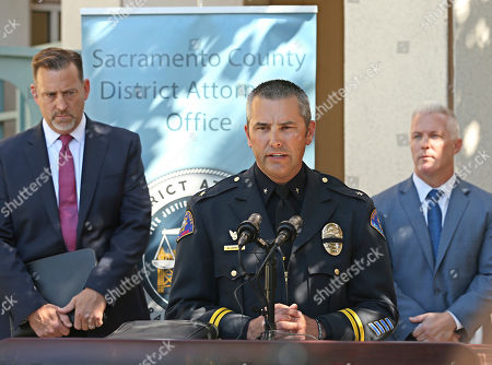Brian Staebell, Aaron Johnson, Jeff Reisig. Commander Aaron Johnson, of the Rohnert Park Police Department, center, discusses the arrest of Roy Charles Waller, who is suspected of committing a series of rapes, during a news conference, in Sacramento, Calif. Waller, 58, was arrested on Thursday, Sept. 20, by Sacramento Police, and is suspected of committing at least 10 rapes across Northern California between 1991 and 2006. At left, is Brian Staebell, Sonoma County chief deputy district attorney, and Jeff Reisig, Yolo County District Attorney, is at right